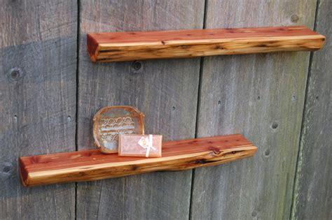 two reclaimed cedar log shelves floating shelves 25 quot x 4