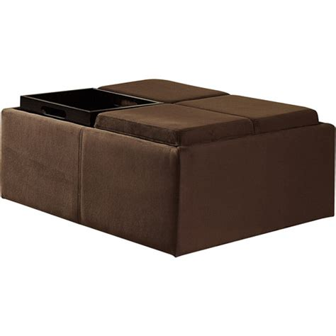 chocolate microfiber ottoman cocktail storage ottoman with 4 trays walmart com