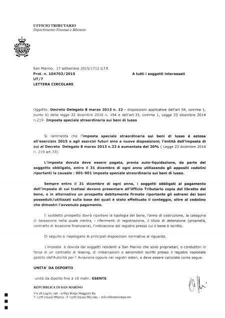 ufficio tributario imposta speciale sui beni di lusso anno 2015 direzione