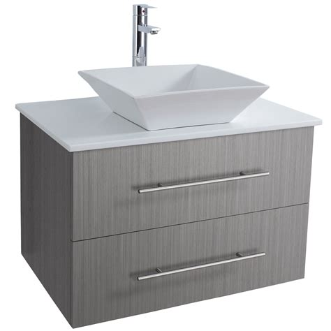 30 Modern Bathroom Vanity by 30 Quot Wall Mounted Modern Bathroom Vanity Gray Oak