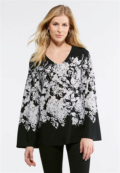 Sleeve Floral Tunic bell sleeve floral tunic shirts blouses cato fashions