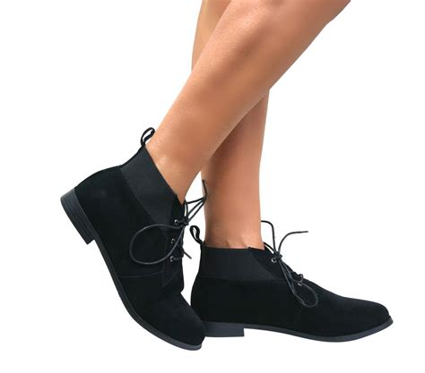 Low Heel Lace Up Ankle Boots womens pixie vintage winter low heel flat