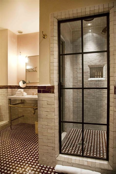 Glass Door For Bathroom Shower Steel Black Framed Paned Shower Door Rustic Handmade Ceramic Tile Brown And Color