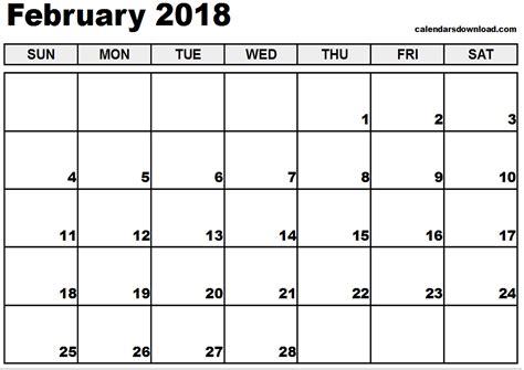 calander pdf free february 2018 calendar in printable format calendar