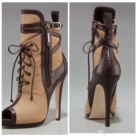 lace up boots cheap brown high thin heels real image