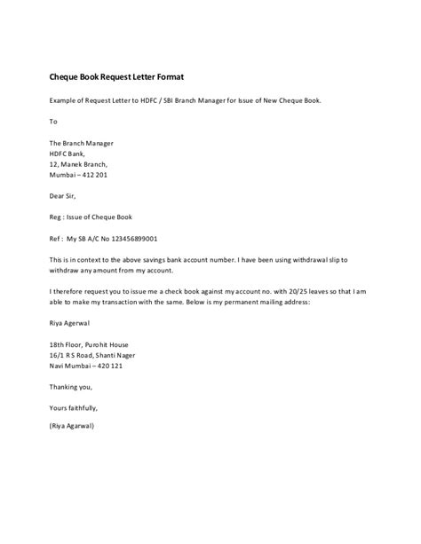Request Letter To Manager Cheque Book Request Letter Format