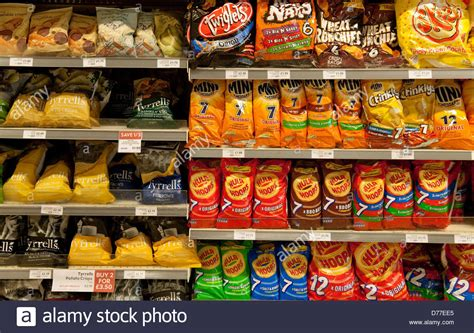 Sale Snack bags of crisps and savoury snacks for sale on the