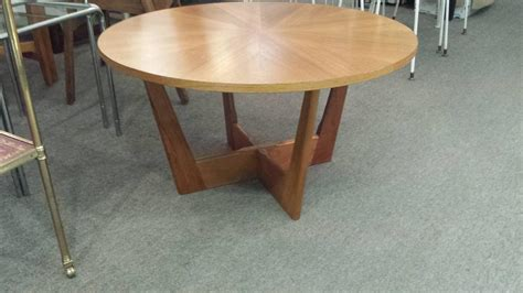 teak circular midcentury coffee table with pie