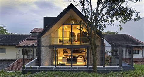 Gable Roof Homes Gabled Roof Jazzes Up Minimalist Y House In Singapore