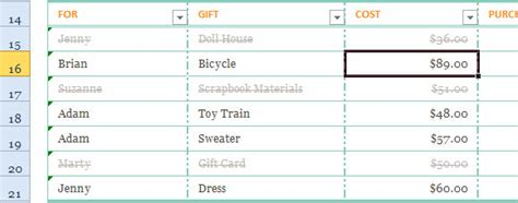 Holiday Gift List Template For Excel 2013 Membership List Excel Template