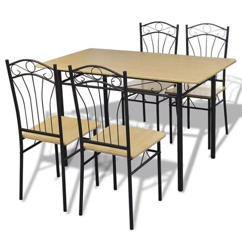 Light Brown Dining Table Dining Set 1 Table With 4 Chairs Light Brown Vidaxl