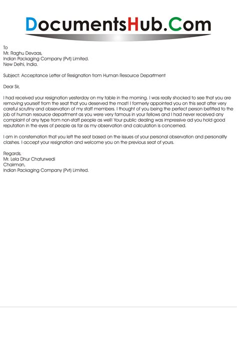 acceptance letter of resignation from hr department documentshub