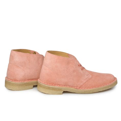 clarks originals dusty pink nubuck leather womens desert