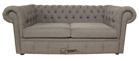 Fabric Chesterfield Sofa Bed Chesterfield Sofabed 2 Seater Leather Sofa Bed Verity Plain Steel Grey Fabric Ebay