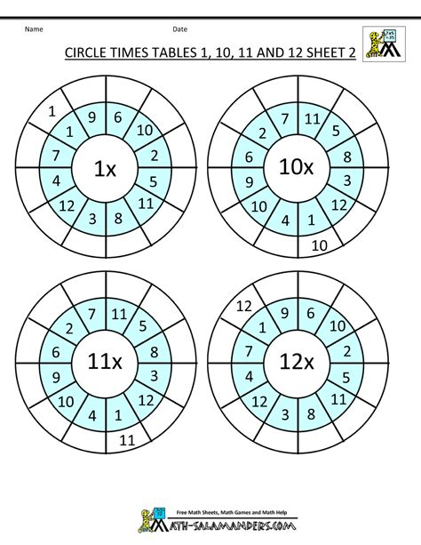 Times Tables Worksheets 1 12 by Times Table Worksheet Circles 1 To 12 Times Tables