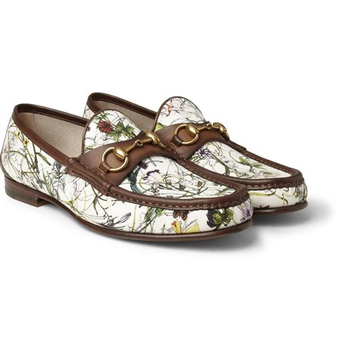 gucci canvas loafers gucci floralprint canvas and leather loafers in floral for