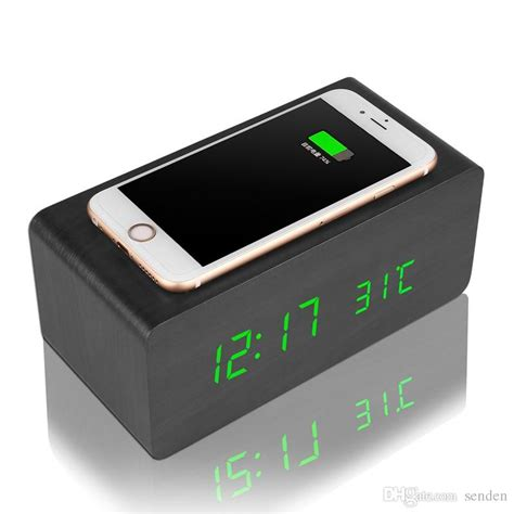 alarm clock charger multifunctional wooden alarm clock wireless charger wood