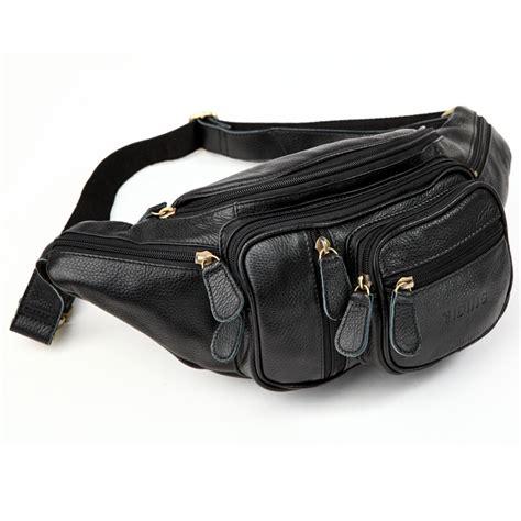 black packs genuine leather black waist packs bum bag top