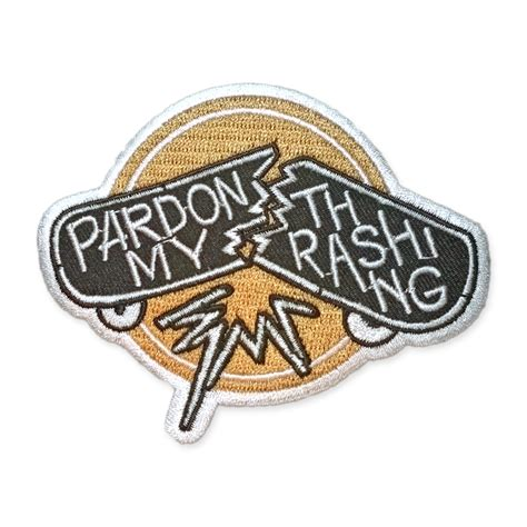 Patchwork Iron - patch iron on pardon my thrashing logo 2 5 x 3 5