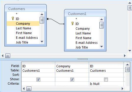 access form design query microsoft access not in query sql tip finding records in