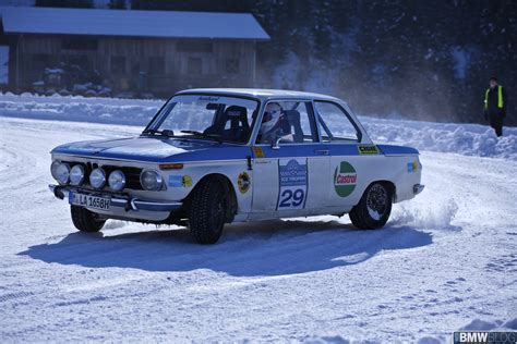 bmw rally bmw races 2002 ti works rally car on snow and ice