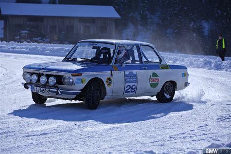 bmw rally car bmw races 2002 ti works rally car on snow and ice