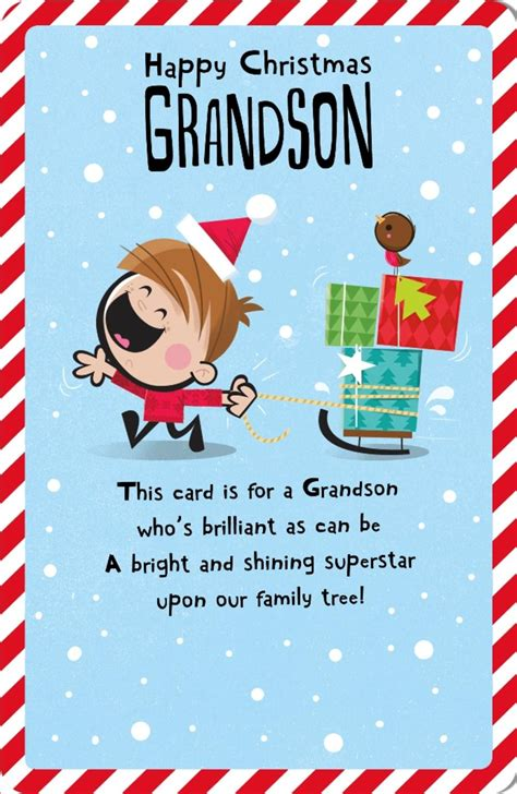 grandson happy christmas greeting card cards