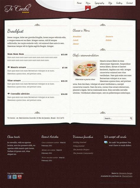 themeforest restaurant te contei review a joomla restaurant template by themeforest