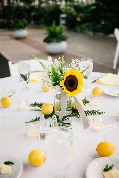 Sunflower, Fern and Lemon Wedding Centerpieces