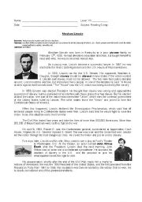 biography of abraham lincoln worksheet answers english worksheet abraham lincoln 180 s biograohy