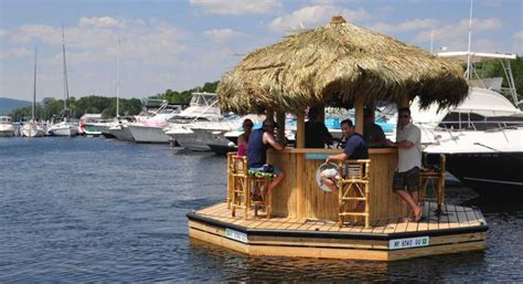 Tiki Bar Boat A Look At Lake George Floating Tiki Bar Times Union