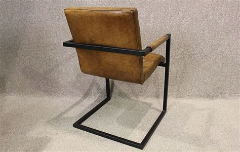 brown leather and metal chair leather armchair with steel frame a wonderful leather
