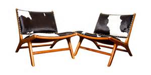Cowhide Upholstered Chairs Contemporary Teak Leather Cowhide Marlboro Chair