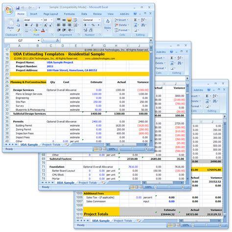 excel estimate template excel construction cost estimate template free