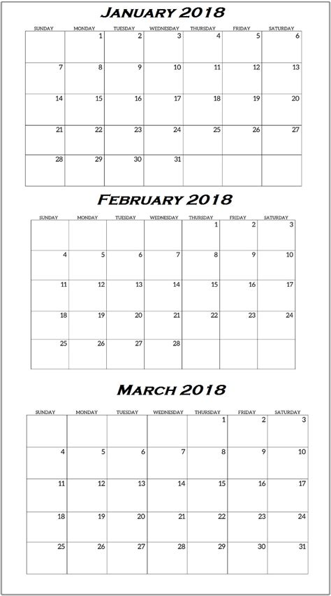 Printable Calendar Quarterly 2018 | quarterly printable calendar 2018 calendar 2018