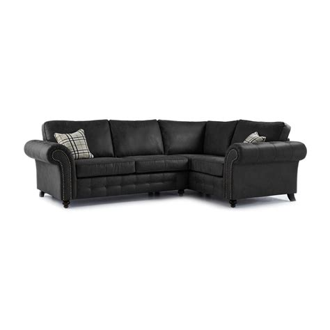 Corner Sofa In Leather Oakland Faux Leather Right Corner Sofa In Black Just Sit On It