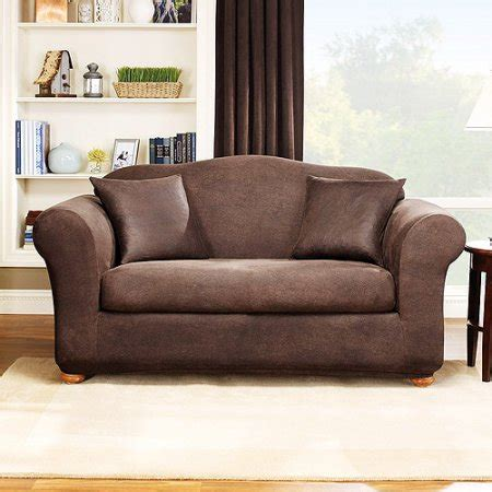 brown sofa covers sure fit stretch leather 2 piece sofa slipcover brown