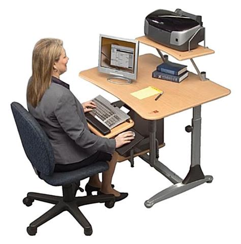 left handed computer desk sit stand computer desk right or left handed users