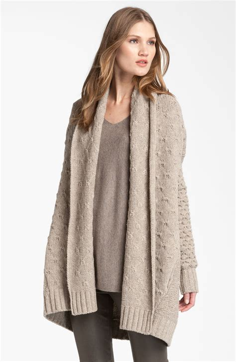 Vince Mixed Knit Oversized Cardigan In Beige Oatmeal Lyst