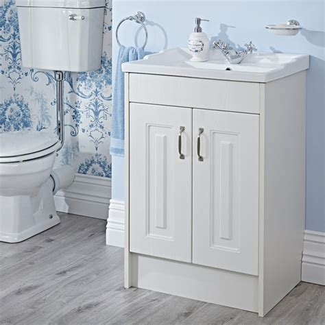 Traditional Bathroom Vanity Units Uk York 600mm White Ash Vanity Unit Traditional Bathroom Other By Bigbathroomshop