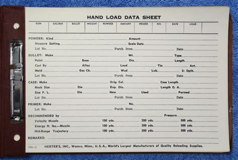 Reloading Data Spreadsheet by Herter S Gun Reloading Load Data Sheet Booklet Log