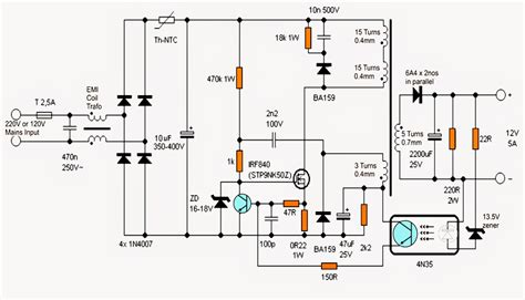 switch mode power supply circuit diagram power supply smps with two outputs 12v 3a max 24v 2a
