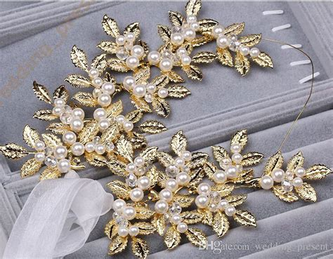 Faux Pearl Leaves Headpiece 2015 new coming shiny gold leaves bridal tiaras hair