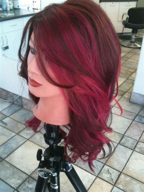 ms color hair color ms alexa rockstar hair red brown and hot pink panels of
