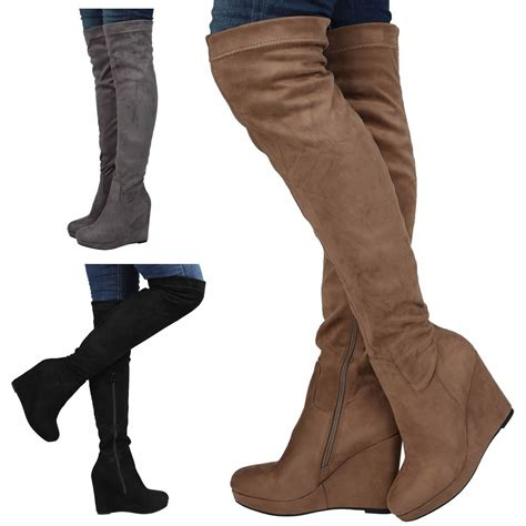 thigh high boots with wedge heel womens boots knee high heel wedge platform