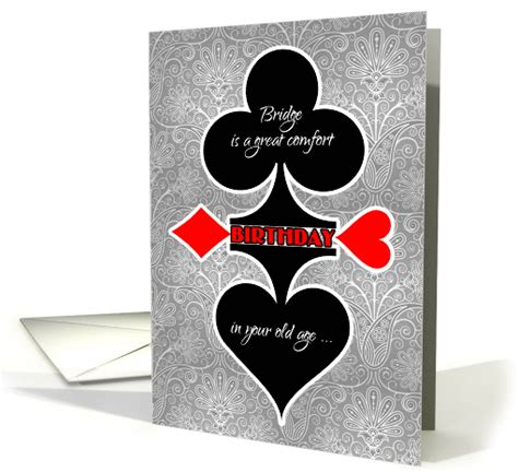 bridge game themed birthday funny card suits card