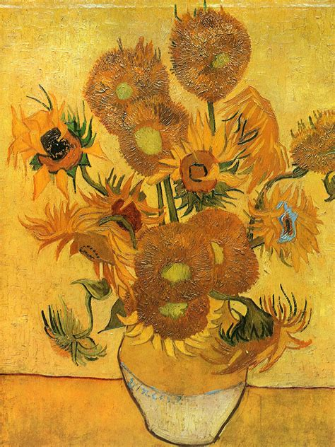 Fourteen Sunflowers In A Vase by Artists Vincent Gogh Flowers Part 2