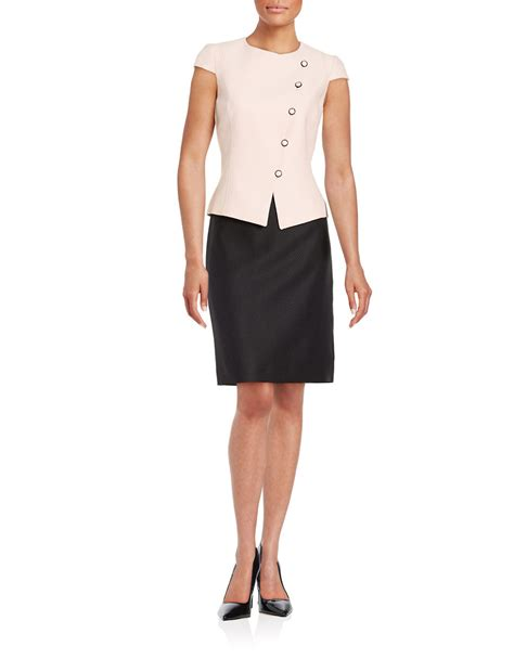 tahari 2 jacquard jacket and pencil skirt set in