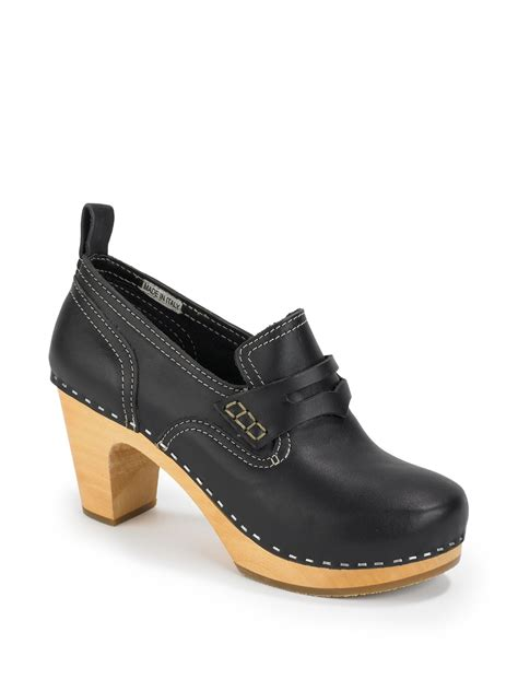 loafers with a heel swedish hasbeens high heel loafers in black lyst