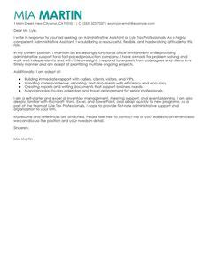 Assistant Cover Letter Exles